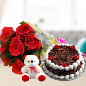 Combo Gifts Online Delivery Anniversary Birthday Cake Flowers Surat